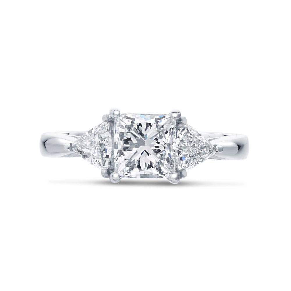 Princess Cut Trilliant Side Stones Trilogy Engagement Ring